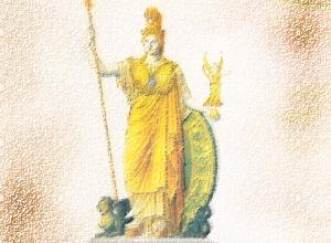 Athena vestida armadura hoplítica